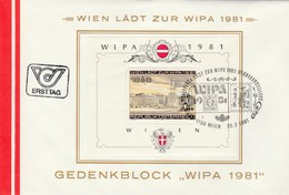 1981 AUSTRIA FDC  Miniature Sheet WIPA Stamps SPECIAL Pmk CLASSIC STAMP Cover Philatelic Exhibition - FDC