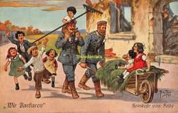CPA ILLUSTRATEUR ARTHUR THIELE ARTIST SIGNED SERIE WIR BARBAREN GERMAN SOLDIERS DEUTSCHE SOLDATEN - Thiele, Arthur