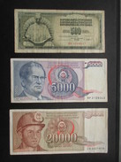LOT 3 BILLETS YOUGOSLAVIE  (V1719) 500, 5000, 20000 (2 Vues) Jugoslavije - Yougoslavie