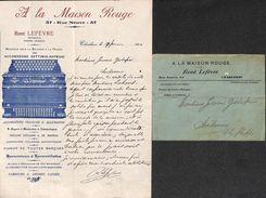 Charleroi - A La Maison Rouge (accordéon, Top Illustration + Enveloppe, 1916) - Bélgica