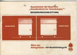 """VEB Giesserei Und Ofenbau Königshütte / Harz -- Raumheizer """"Standardisierter Innenkörper"""" (51102) - Mitteilung"""