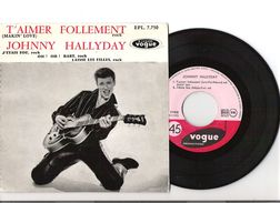 45T EP Original Johnny Hallyday Vogue Médium EPL7.750 T'Aimer Follement Pochette Villetaneuse Rarissime - Rock
