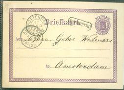 HANDGESCHREVEN BRIEFKAART Uit 1872 Voordruk NVPH 18 Van ROTTERDAM Naar AMSTERDAM * NA POSTTIJD IN KASTJE  (10.660a) - Material Postal