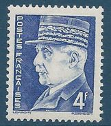 FRANCE - YT N°521A - 4f. Bleu - Maréchal Pétain - Type Hourriez - Neuf** - TTB Etat - 1941-42 Pétain