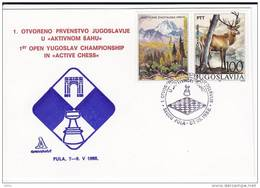 "1919. Chess, Yugoslavia, 1988, 1st Open Yugoslav Championship In ""Active Chess"" - Pula, Commemorative Card - Schaken"