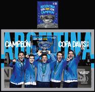 DAVIS CUP 2016-ARGENTINA-2017- CHAMPION-SOUVENIR SHEET + 1 STAMP-MNH- - Hojas Bloque