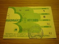 Panathinaikos-IFK Göteborg UEFA Champions League Football Match Ticket Stub 23/10/1991 - Tickets D'entrée