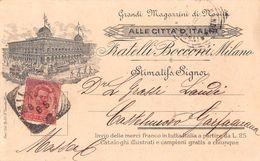 """06960 """"F.LLI BOCCONI - MILANO - GRANDI MAGAZZINI DI NOVITA' -ALLE CITTA' D'ITALIA""""  CART SPED 1897 - Pubblicitari"""