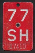 Velonummer Schaffhausen SH 77 - Plaques D'immatriculation