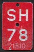Velonummer Schaffhausen SH 78 - Placas De Matriculación