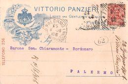 """06964 """"VITTORIO PANZIERI - FIRENZE - FORNITORE ABITI DELLA CASA S.A.R. IL DUCA D'AOSTA""""  CART SPED 1906 - TIMBRO POSTINO - Pubblicitari"""