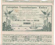 """1928 - ACTION DE 1000 FRANCS - ENTREPRISES TRANSATLANTIQUES """"ENTRA"""" - SIEGE SOCIAL COTONOU (DAHOMEY) - Navigation"""