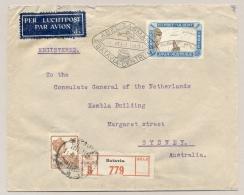 Nederlands Indië - 1931 - R-cover Met Abel Tasman-vlucht Van Batavia Naar Sydney / Australia - Netherlands Indies
