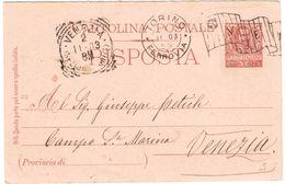 R652) V.E.III CARTOLINA POSTALE 7 1/2 CENT. MILL. 03 PARTE RISPOSTA - Interi Postali