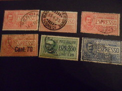 REGNO  ESPRESSO LOTTO 6 VALORI USATI - 1900-44 Vittorio Emanuele III