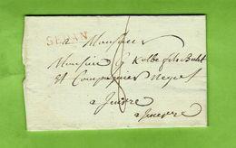 1814 LAC De Raucourt Près SEDAN MARQUE POSTALE ENCRE ROUGE Pour Kolbe Négociants Lieu ?? VOIR SCANS - Postmark Collection (Covers)