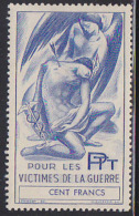 France Post-WWI Victims Of War Stamp 100 Francs. Woman Supporting Man Pierced With Arrow. - Vignettes Militaires