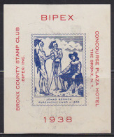 USA 1938 BIPEX (Bronx Philatelic Exhibition) Commemorative Label. Jonas Bronck Purchasing Land From The Indians. - Altri