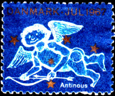 """Denmark 1967 Poster Stamp Showing Winged Child With Bow Inscribed """"Antinous"""" - Erinofilia"""