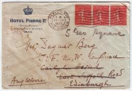 FRCV028 France 1932 P.T.P.O. Hotel Pierre 1er Cover Franking Strip 50c Semeuse Definitive Addressed England - France