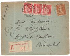 FRANCIA - France - 1933 - 3 X 50c + 25c - Recommandée - Avec Lettre - Viaggiata Da Nice Per Beausoleil - Frankreich