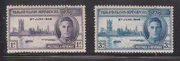 FALKLAND ISLANDS DEPENDENCIES Scott # 1L9-10 MH - KGVI 1946 Peace Issue - Falkland Islands