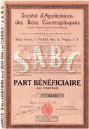 Action Ancienne - Sté D'Applications Des Bois Contreplaqués - Titre De 1929 - - Industrie