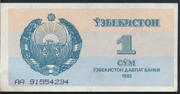 °°° UZBEKISTAN 1 SUM 1992 °°° - Uzbekistan