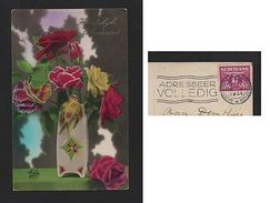 TINTED POSTCARD & Stamp 1931years NEDERLAND THE NETHERLANDS FLOWER FLOWERS Z1 - Postcards