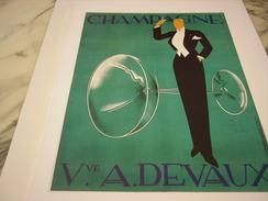 ANCIENNE PUBLICITE  ART DECO DE ERNST DRYDEN POUR LE CHAMAGNE VEUVE DEVAUX - Alcohols