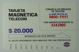 COLUMBIA - Tamura - Tarjeta Magnetica Telecom - $20.000 - Brown Reverse - Mint - Colombia