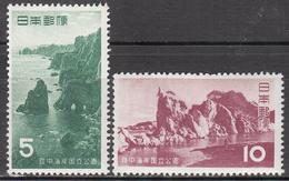 JAPAN   SCOTT NO. 612-13    MINT HINGED      YEAR 1955 - Ongebruikt