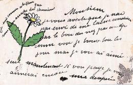 [DC11103] CPA - AUGURALE - FIORI - MARGHERITA - Viaggiata 1905 - Old Postcard - Blumen