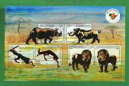 INDIA 2015 - 3rd AFRICA FORUM SUMMIT 6v Innovative Foil MINIATURE SHEET MNH ** - RHINOCEROS, GAZELLES, LION, Black Buck - Rhinozerosse