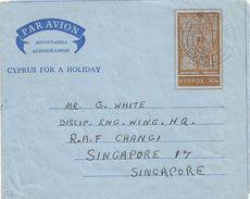 Cyprus 1968 Nicosia Singapore RAF Changi Orthodox Church Entrance Aerogramme - Singapore (1959-...)