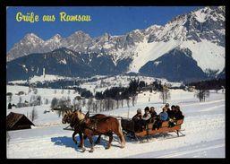 [015] Pferde-Karte 134, Pferdeschlitten, Ramsau Am Dachstein, Steiermark, Gel. 1986 - Pferde