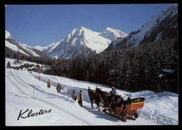[015] Pferde-Karte 135, Pferdeschlitten, Klosters, Schweiz, Gel. 1995 - Pferde
