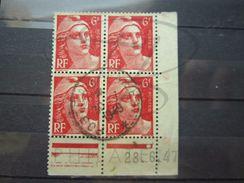 """VEND TIMBRES N° 721A EN BLOC DE 4 COIN DATE """" 28.6.47 """", OBLITERATION """" POSTE AUX ARMEES """" !!! - 1940-1949"""