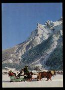 [015] Pferde-Karte 158, Pferdeschlitten, Mittenwald, Bayern, ~1980 - Pferde