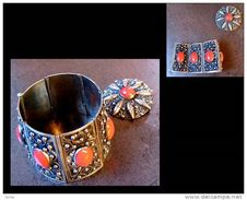 Parure Orientaliste Des Années 60 Bracelet Manchette + Broche - Bracelets