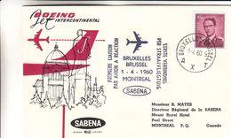 Belgique - Lettre De 1960 - 1er Vol Sabena Bruxelles  Montreal - Cachet De Montreal - Lettres & Documents