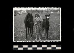 [015] Pferde-Photo 244, Pferd + Fohlen Mit Frau, Privates Photo, ~1950 - Pferde