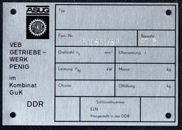 A8523 - ASUG Penig - VEB Getriebewerk Im Kombinat GuK - DDR - Typenschild ??? Geräteschild ?? - Reklame