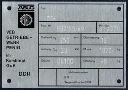 A8524 - ASUG Penig - VEB Getriebewerk Im Kombinat GuK - DDR - Typenschild ??? Geräteschild ?? - Reklame