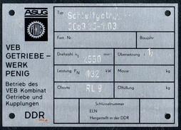 A8525 - ASUG Penig - VEB Getriebewerk Im Kombinat GuK - DDR - Typenschild ??? Geräteschild ?? - Reklame
