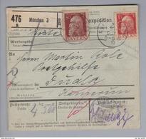 "DE Altde. Bayern 1913-10-31 München Paketkarte N.Dudla Kamerun M 1.60 4 Marken M.Perfin #K10 ""K.O."" Kaufh.Oberpollinger - Bavière"