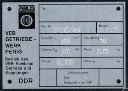 A8526 - ASUG Penig - VEB Getriebewerk Im Kombinat GuK - DDR - Typenschild ??? Geräteschild ?? - Reklame