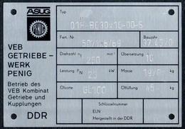 A8527 - ASUG Penig - VEB Getriebewerk Im Kombinat GuK - DDR - Typenschild ??? Geräteschild ?? - Reklame