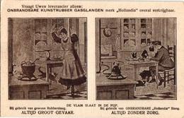 1 Postkaart  PUB Hollandia Gasslangen Onbrandbaar Kunstrubber Zonder Zorg Veiligheid Chromo Litho RECLAME C1912 - Health