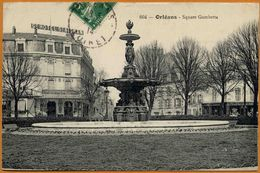 45 / ORLEANS - Square Gambetta - Grand Hôtel St-Aignan, Pharmacie, Fontaine... (tampon 1914) - Orleans